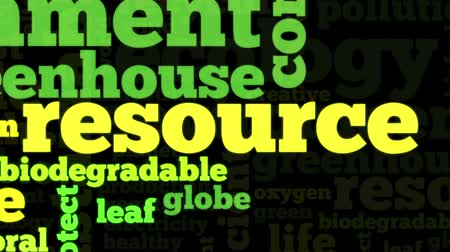 renovável : Animation of conceptual tag cloud containing words related to ecology, environment, pollution, renewable resources, recycling, conservation, efficiency, on black background Vídeos
