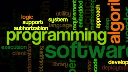 yazılım : Animation of tag cloud containing words related to software development and engineering, programing, coding, computing and software applications, on black background Stok Video