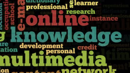 szavak : Animation of tag cloud containing words related to distance learning, distance education and e-learning, on black background