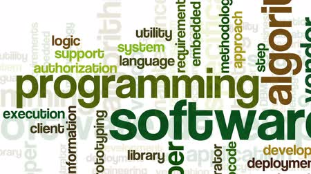 fejlesztése : Animation of tag cloud containing words related to software development and engineering, programing, coding, computing and software applications, on white background