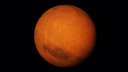 yörünge : One revolution of planet Mars with proper rotation direction and axial tilt