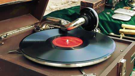 tonearm : Old dusty vinyl player and controls