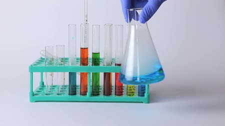 flasks : Laboratory Research. Scientific Glassware For Chemical Stock Footage