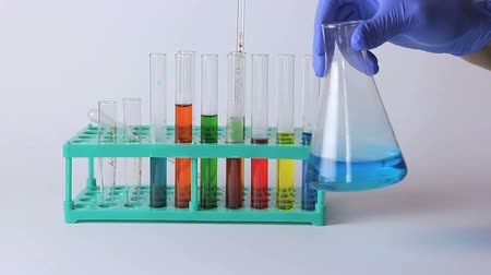 cylinder : Laboratory Research. Scientific Glassware For Chemical Stock Footage