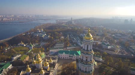 Aerial, top view from Drone: Kiev, Ukraine. Pechersk Lavra Monastery. Flight over the territory of the church complex. Wideo