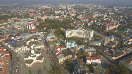 Aerial, top view from Drone. The historic center of Ivano-Frankivsk city, Ukraine, with city hall building in art deco style.