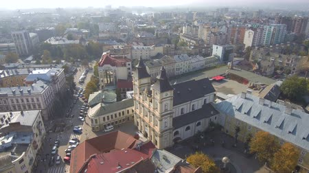 belediye binası : Aerial, top view from Drone. The historic center of Ivano-Frankivsk city, Ukraine, with city hall building in art deco style.