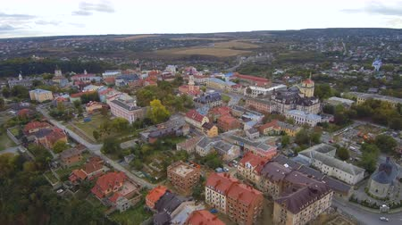 Aerial, top view from Drone. The old city center Kamenetz Podolsky. Autumn time.