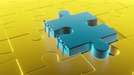 metaphors : Colorful gold shiny puzzle. Business concept. 3d rendering Stock Footage