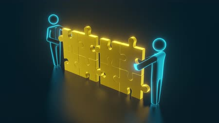 puzle : 3d man, small person inserting last part of a puzzle. Business concept. 3d rendering Wideo
