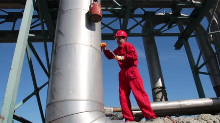 oil industry : Oil Refinery Worker at Work Stock Footage