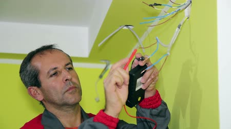elektryk : Electrician Working With Measuring Instrument and Wires