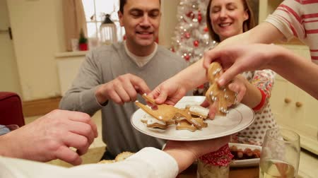 tablo : Family and friends gathered at christmas time being served festive gingerbread treats. Stok Video