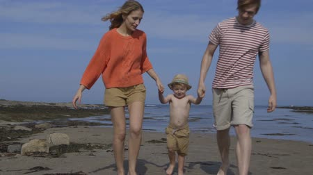 father of waters : A happy little boy walks hand in hand with his parents along the beach. They are lifting him up and swinging his as they get closer to the camera. Stock Footage