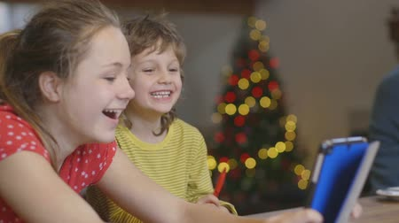 focus on foreground : A happy brother and sister laugh and smile together as they use a digital tablet on Christmas morning. The little girl is showing her brother something on the screen that is making him laugh.