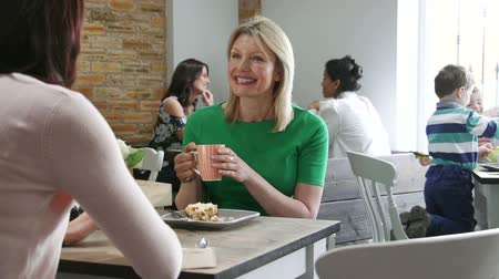 socialising : Women are in a cafe, socialising over tea and coffee. Stock Footage