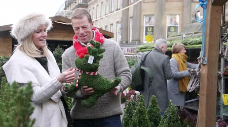 positive ageing : Mature couple are enjoying buying christmas decorations in the town christmas market.