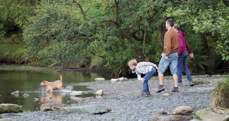 competitivo : Two boys are having a pebble throwing competition with their father at a lake they have found while hiking.
