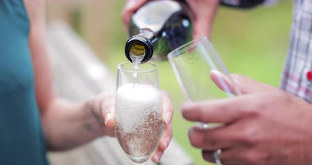 champagne flute : Close-up slow motion of champagne being poured into two champagne flutes. Stock Footage