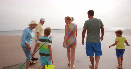 father of waters : Slow motion, tracking shot, of a 3 generation family walking on the beach while on holiday.