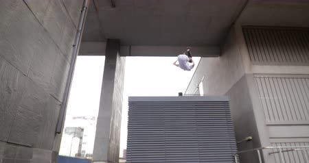abilities : Freerunner is doing flips from a vent on a rooftop in the city.