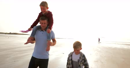 father of waters : Father and his two sons walking up from the waters edge at the beach while on their holiday. Stock Footage