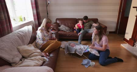 role model : Grandmother meeting her grandson for the first time, she is catching up with the family and having a cup of tea while the baby sleeps in his baby bouncer. Stock Footage