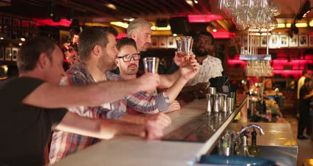 adults only : Small group of mid adult male friends sitting at a bar counter. Theyre trying a sample of beer and laughing together. Stock Footage