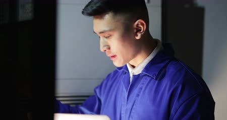 internar : Trainee Technician in the Server Room Stock Footage