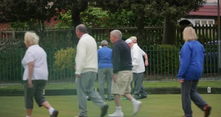 A senior man can be seen collecting a group of bocce balls using a pick up tool at a bowling green.
