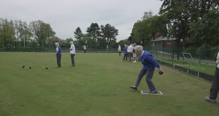 bonding : A side-view panning shot of a group of senior friends lawn bowling on grass, one senior woman takes her shot.