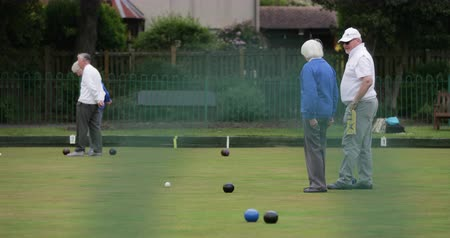 A side-view shot of two senior adults spectating a lawn bowling game, they are standing together.
