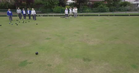 A front-view panning shot of a group of senior friends lawn bowling on grass, one senior woman takes her shot.