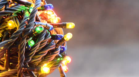 borders : multi color garland glowing of closeup Stock Footage