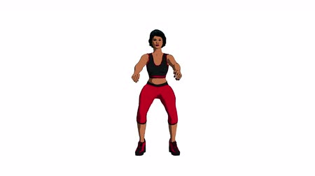 ginásio : Toon Shaded 3d Animation of a Woman in Fitness Gear Doing Air Squats. Video contains seamless loop for endless repetition and luma matte for isolation. Most suitable for fitness themed productions.