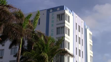Miami, Florida, USA - Circa July 2013: Art Deco Facade of the Park Central Hotel on the famous Ocean Drive in Miami Beach, Florida designed by Henry Hohauser in 1937.