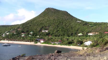 vegetazione : Anse de Lorient Bay sull'isola di Saint Barthélemy nei Caraibi con Green Mountains, Blue Sea e Sandy Beach
