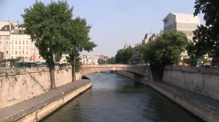 parisian : Petit Pont (Little Bridge) Crossing the River Seine in the City Center of Paris France at the ile de la cite.