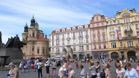 Old Town Square in Prague Crowded with Many Tourists on a Summer Day, Bohemia, Czech Republic - Pan