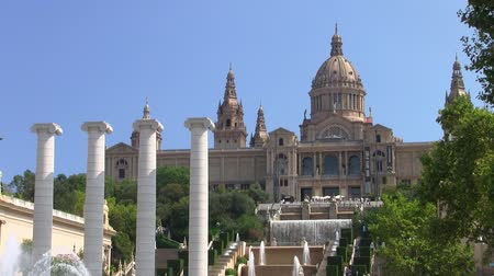 Palau Nacional, the National Palace and its Garden on Montjuic in Barcelona, Catalunya, Spain