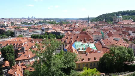 Cityscape of Prague from the Hradschin Castle - Vertical Pan with Charles Bridge and River Vltava