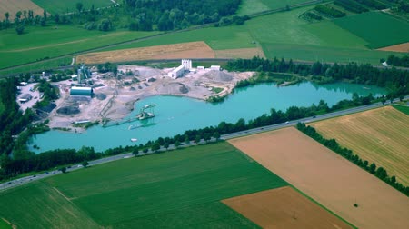 kuvars : Aerial View of Commercial Gravel Pit - Gravel and Sand Quarry - Gravel Industry Stok Video