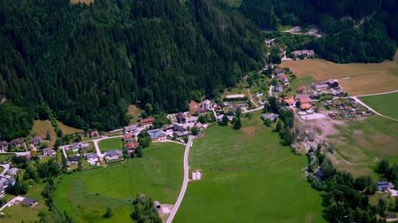 Aerial View of Rural Landscape with a Village and Pastures near Gmuend in Carinthia, Austria Stock Footage