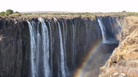 divu : Victoria Falls and Gorge with Rainbow, Zambezi River, between Zimbabwe and Zambia, Africa