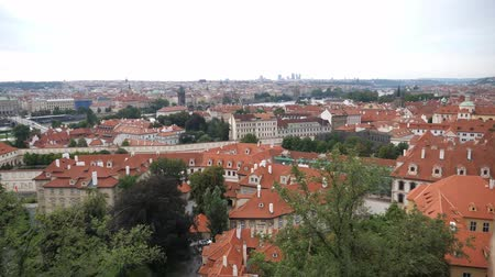 Čechy : Prague Cityscape seen from Prague Castle Prazsky Hrad showing Lesser Town and Old Town Dostupné videozáznamy