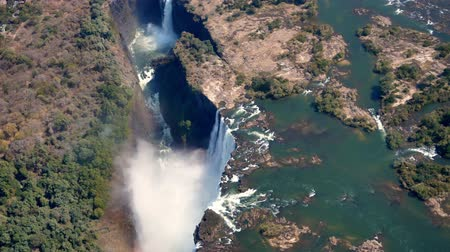 zambia : Aerial of Victoria Falls from Helicopter in 4k, mosi-oa-tunya waterfall