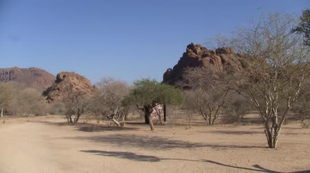 Arid and Dry Erongo Moutain Landscape with Sand, Rocks and Trees, Remote and Lonely Countryside in Namibia, Africa Stock Footage