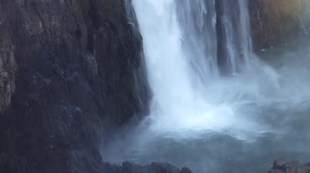 zimbabwe : Victora Falls, Detail of Lower Part with Mist and Spray of White Water Hitting the Surface