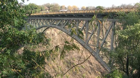 zambia : Famous Victoria Falls Railroad Bridge with Bungee Jump in Zimbabwe, Africa