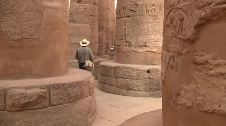 hieroglifa : Tourist Photographer Walking in Luxor Temple, Egypt, Between Large Columns Stock mozgókép